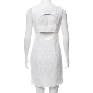 MUSE White Key Hole Lace Embroidered Mini Dress 2